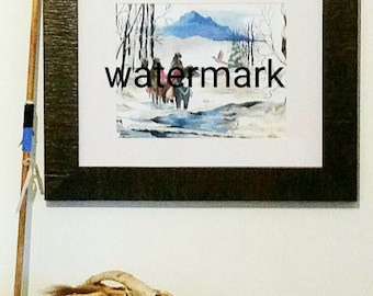 Art Print-Copy of an Original Watercolor Painting (Crossing to Camp)Gift Idea-Print-Wall Hanging-Wall Art-Poster