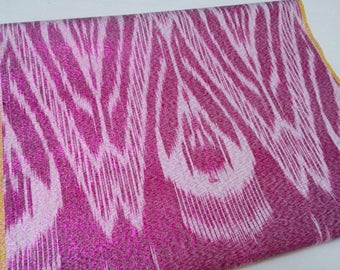Uzbek silk pink ikat fabric by meter. F045