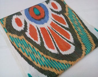 Uzbek handwoven silk ikat fabric by meter. F043