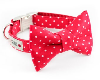 Red Dot Bowtie Dog Collar