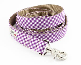 Purple Gingham Dog Leash