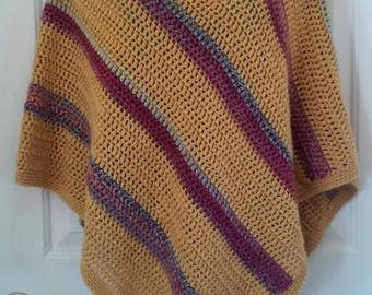 Poncho - Golden Yellow with Purple, Pink and Green Stripes