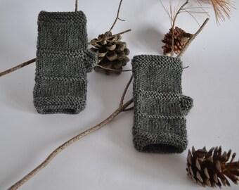 Winter gloves grey knit fingerless mittens in wool for women