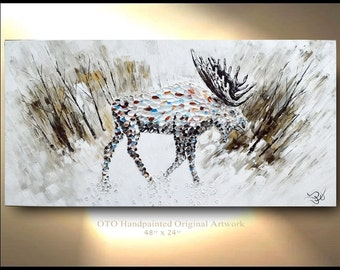 Moose in Forest Landscape Alaska Painting on Canvas arctic animal art Male Original Artwork Game Home Decor Gift for House Trending By OTO