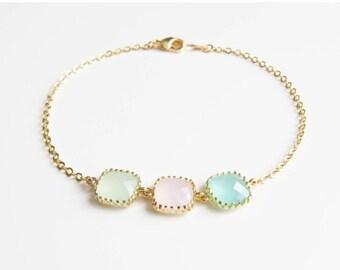 10% OFF CYBER WEEK Personalized Bracelets   3 Stone Bracelet   Birthstone Bracelets   Bridesmaids Bracelet   Birthstone Bracelet for Mom   M