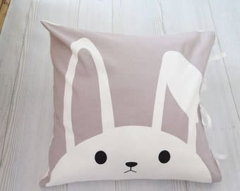 Bunny pillow , rabbit pillow , gray and white pillow , animal pillow , nursery pillow , kids pillow , throw pillow , baby pillow