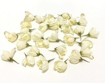 Artificial Flowers - 30 Cream Delphinium Buds- 1 Inch by 1 Inch - Artificial Flower Buds
