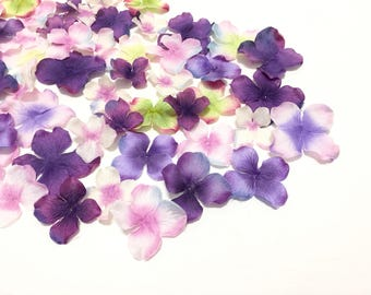 50 Pink and Purple Artificial Hydrangea Blossoms - Artificial Flowers, Silk Flowers, Hair Accessories, Flower Crown, Scrapbooking, Wedding