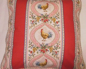 Country French Cottage Rooster Pillow Provence Red Pink Yellow Ivory Toile Hens