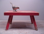 RESERVED LISTING for AMY...vintage wood stool / small red bench / wooden footstool / primitive farmhouse cottage
