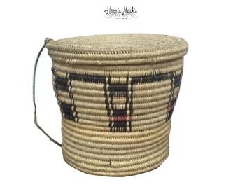 African Tribal Basket Huge Tutsi Lid Rope Handle Vintage Coiled End Table  Storage Global Hand Made