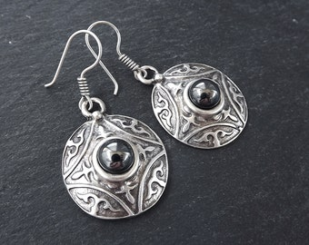 Tribal Dome Ethnic Fleur Silver Earrings with Black Pearlized Glass Stone - Authentic Turkish Style