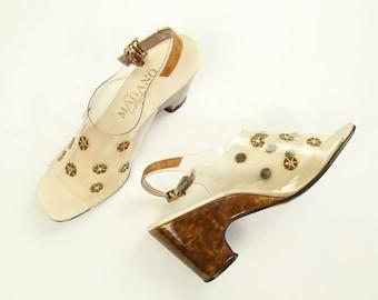 VINTAGE 1970s Wedge Heels Clear Plastic Sandals Size 7