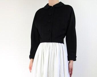 VINTAGE 1950s Cropped Jacket Black Wool
