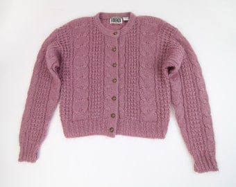 VINTAGE Mohair Cardigan Purple Orchid Sweater