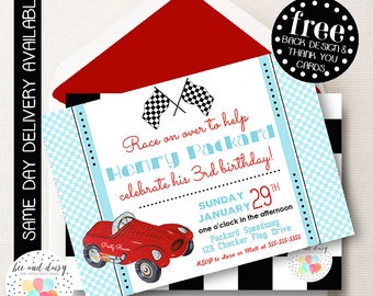 Vintage Race Car Invitation, Race Car Birthday Invitation, Race Car Party, Boy First Birthday, Boy Birthday, Printable Race Car Invite