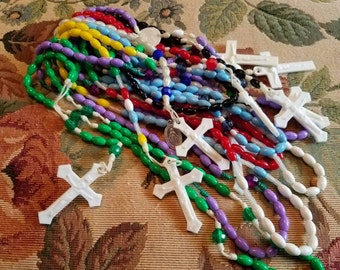 Vintage Lot of of 9 Plastic Rosary Beads Green Blue Red Yellow Black White Green Crucifix Religious Catholic Christianity Christian