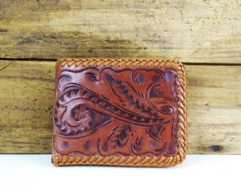 Vintage Bifold Tooled Leather Wallet