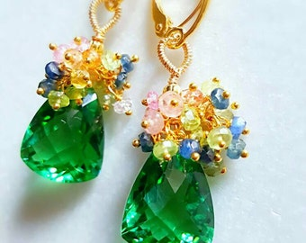 New! Green Quartz with Colorful Sapphire Cluster Gemstone Earrings on Gold Vermeil Spring Garden Bouquet Earrings Bridal Jewelry