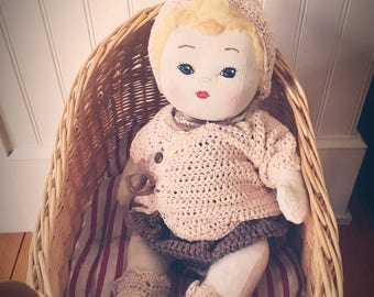 """Cloth baby """"Becca"""" with linen body, wool stuffing, embroidered face, mohair yarn for hair, and crocheted clothes- all handmade"""