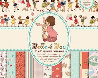 6x6 Paper Pack ~ Belle & Boo Retro by Trimcraft * Card-Making *Scrapbook Mini Albums