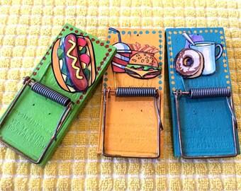 magnetic, clips, funny, junk food, hotdog, fast food, donuts, 3D, magnets