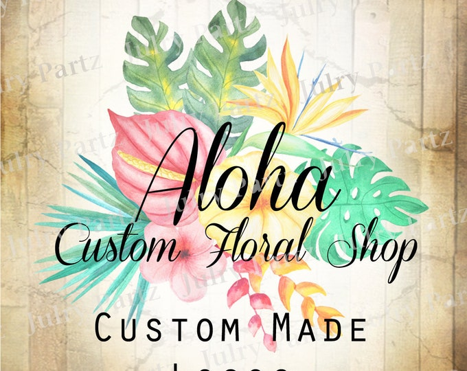 LOGO in ALOHA•Premade Logo•Jewelry Card Logo•Watercolor Logo•Custom Logo•Shop Logo