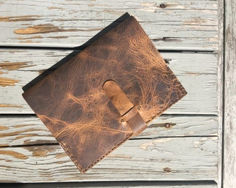 Leather composition book cover, Handmade antique brown leather notebook, Minimalist refillable journal book cover, Handstitched in NY
