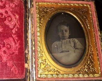 "1/9 Daguerreotype of a Bedridden or Dying Boy in Bed - ""Premortem"""