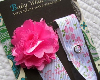 Baby Girl Pacifier Clip, Pink Flower Pacifier Clip, Baby Satin Mesh Pacifier Holder, pcflower01