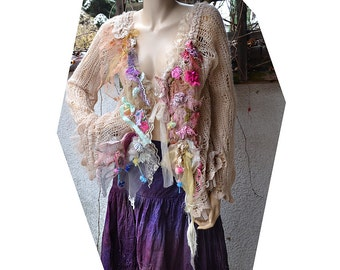 Beautiful Art To Wear Shabby Chic Pastel Delicate Soft Sweater/Jacket ROSES Of COURSE Fairy Boho Antique  Antoinette Tattered