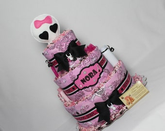 Baby Diaper Cake Punk Rock Star Princess Shower Gift Centerpiece