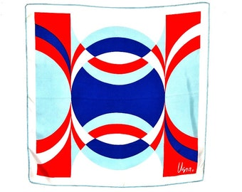 VERA Neumann Silk Scarf 21  in. sq. 1960s Red Blue White Modernist Graphic Mod Mid Century Signed Hand Rolled Hem Excellent Condition
