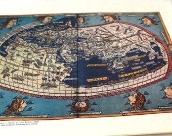 Vintage Parchment Paper Print Cladius Ptolemy Map of the World Full color
