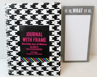 lined journal and notepad magnetic list it is what it is black and white
