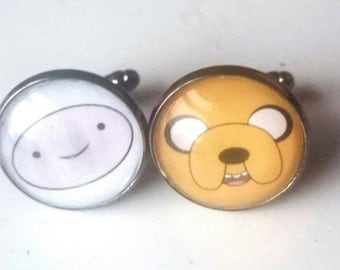 Adventure Time Inspired mens glass tile cuff links the perfect gift for a geek in your life.