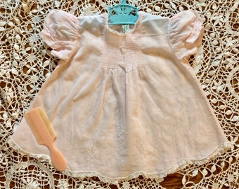 Pink baby dress, 1950's, Feltman?, 3 months, Cotton, antique, MidCentury, christening