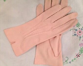 Pink gloves, ladies' gloves, Easter parade, bride, Hansen, 6 1/2, nylasuede, Mothers' Day