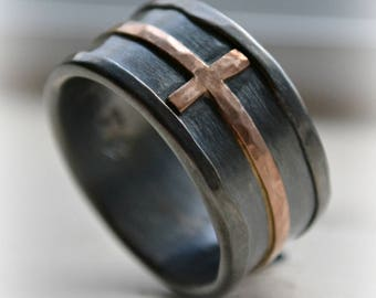 mens cross wedding band - rustic hammered cross ring, oxidized fine silver, sterling, 14K rose cross ring, handmade wedding band, Jesus