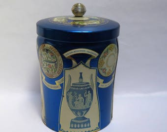 Vintage Murray Allen Royal Blue Biscuit Candy Confections Tin Container