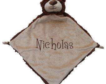 baby blanket, animal blanket, personalized blanketanimal lovey, one day ship, animal blankie, lovie, baby lovey, brown bear lovey
