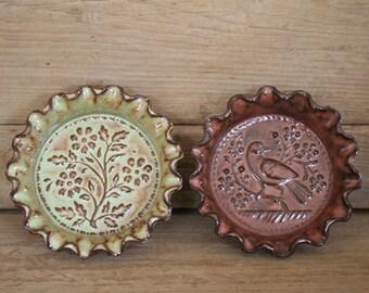 Rustic Folk Art Dish Duo - Lark & Flowers