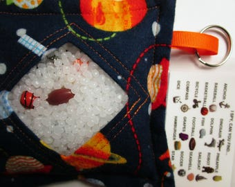 I Spy Bag Outer Space, Boys themed contents, car travel toy game, Eye Spy Game, seek and find, sensory occupational therapy, busy bag