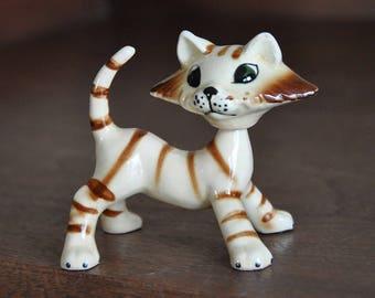 Vintage Ceramic Nodder Cat Figurine JAPAN Gold Stripe Bobblehead Like McFarland and Like Holt Howard 1950 Mid Century