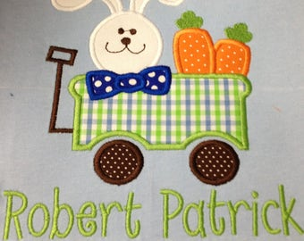 Boys Easter shirt, Personalized shirt, Easter Wagon, Easter Shirt, Easter Bunny, Children's shirt, kids shirt, Easter truck shirt, boys tee