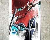 Star Wars, X-wing and Tie Fighter battle, Art Print, Star Wars print, Star Wars Poster, Red wall art, Fan Art illustration
