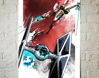 Star Wars Art - X-wing and Tie Fighter battle - Star Wars Poster, Art Print, Star Wars print, fan art illustration, Star Wars Gift