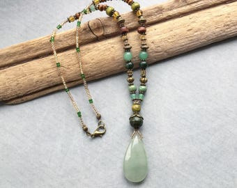 Aventurine Tear Drop Pendant Beaded Boho Necklace
