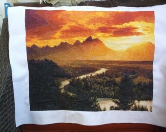 Counted cross stitch sunset fibre art sunset by the river