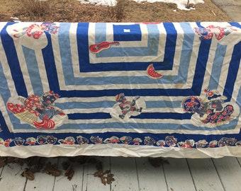 Vintage Black Americana Table Cloth